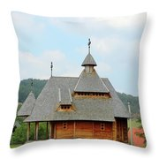 Old Orthodox Wooden Church On Hill Throw Pillow