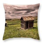 Old Outhouses Throw Pillow