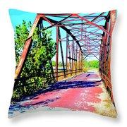 Old Ozark Trail Bridge Throw Pillow