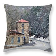 Old Paint Mill Winter Time Throw Pillow