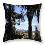 Old Palm Trees And Downtown Los Angeles Throw Pillow