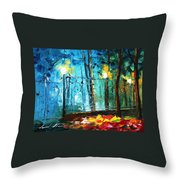 Old Park 2 - Palette Knife Oil Painting On Canvas By Leonid Afremov Throw Pillow