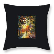 Old Park 3 - Palette Knife Oil Painting On Canvas By Leonid Afremov Throw Pillow