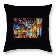 Old Part Of Town - Palette Knife Oil Painting On Canvas By Leonid Afremov Throw Pillow