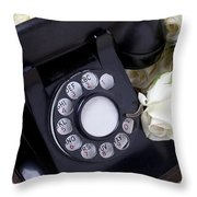 Old Phone And White Roses Throw Pillow by Garry Gay