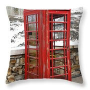 Old Phone Booth Throw Pillow