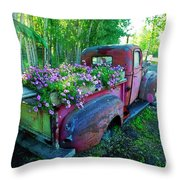 Old Pickup Truck As Flower Bed Throw Pillow