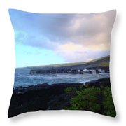 Old Pier At Honuapo Bay Throw Pillow