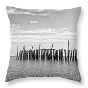 Old Pier Provincetown Harbor Cape Cod Throw Pillow