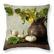 Old Pitcher With Gourds Throw Pillow