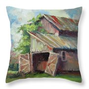 Old Pole Barn Throw Pillow
