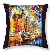 Old Port - Palette Knife Oil Painting On Canvas By Leonid Afremov Throw Pillow