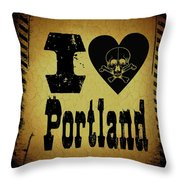 Old Portland Throw Pillow