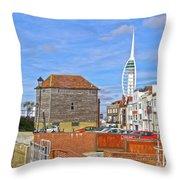 Old Portsmouth Flood Gates Throw Pillow
