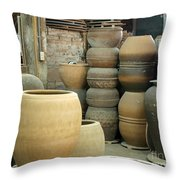 Old Pottery Workshop Throw Pillow