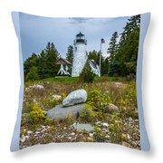 Old Presque Isle Lighthouse Throw Pillow