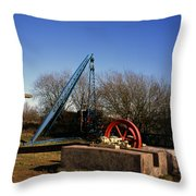 Old Quarry Machinery Winter Day Tegg's Nose Country Park Macclesfield Cheshire England Throw Pillow