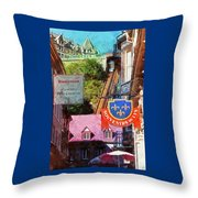 Old Quebec City Funicular Throw Pillow