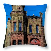 Old Racine Fire Station Throw Pillow