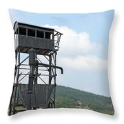 Old Railway Station Equipment For Steam Locomotives Throw Pillow