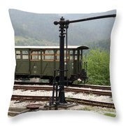 Old Railway Station With Wooden Wagon Throw Pillow