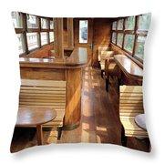 Old Railway Wagon Interior Vintage Throw Pillow