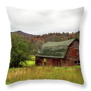 Old Red Adirondack Barn Throw Pillow by Nancy De Flon