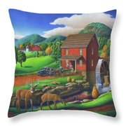 Old Red Appalachian Grist Mill Rural Landscape - Square Format  Throw Pillow