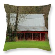 Old Red Barn In Jefferson County Throw Pillow