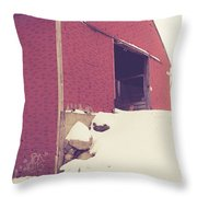 Old Red Barn In Winter Throw Pillow