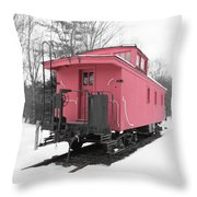 Old Red Caboose Square Throw Pillow