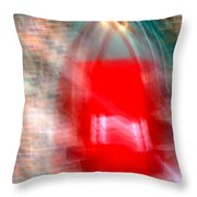Old Red Door Abstract Throw Pillow