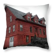Old Red House In Shelburne Falls Throw Pillow