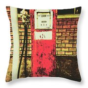 Old Roadhouse Gas Station Throw Pillow