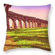 Old Roman Aqueduct Throw Pillow