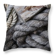 Old Ropes On Dock Throw Pillow