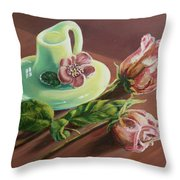Old Roses Never Die Throw Pillow