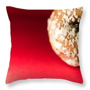 Old Rotting Apple With Fruit-rot On Red Background Throw Pillow