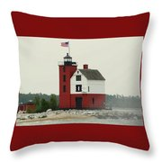 Old Round Island Point Lighthouse Michigan Throw Pillow
