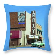 Old Roxy Theater In Muskogee, Oklahoma Throw Pillow
