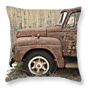 Old Rust Truck Throw Pillow