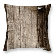 Old Rustic Black And White Barn Woord Door Throw Pillow