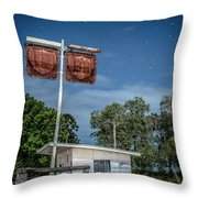 Old Rustic Fuel Station Sign In The Countryside Throw Pillow