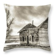 Old Rustic Log House In The Snow Throw Pillow