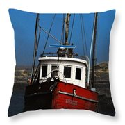 Old Rustic Red Fishing Boat Throw Pillow