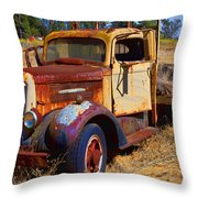 Old Rusting Flatbed Truck Throw Pillow