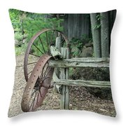 Old Rusty Wagon Wheels And Weathered Fence Throw Pillow