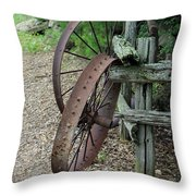 Old Rusty Wagon Wheels Throw Pillow