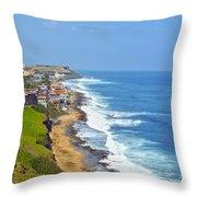 Old San Juan Coastline 3 Throw Pillow