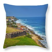 Old San Juan Coastline Throw Pillow by Stephen Anderson
